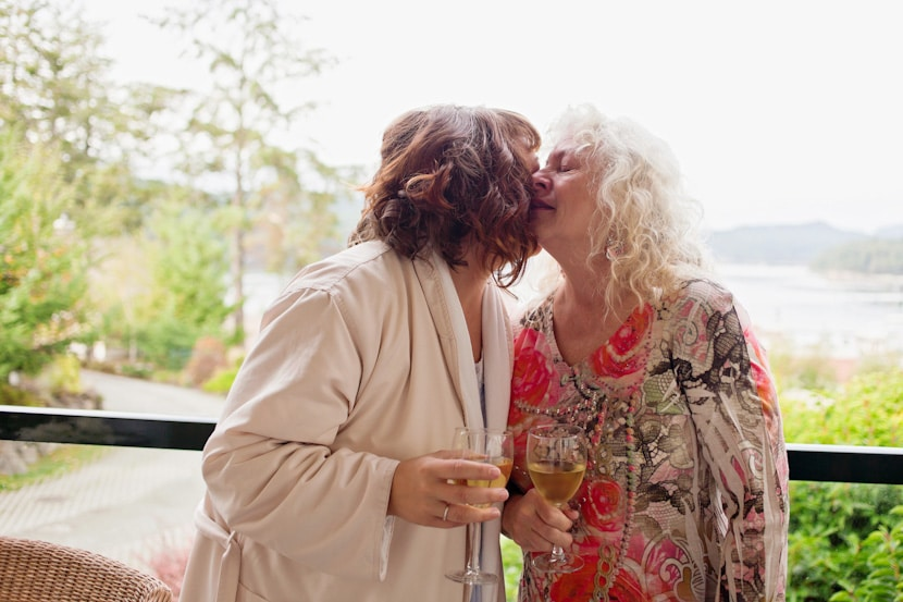 bride and mother share emotional moment on Pender Island