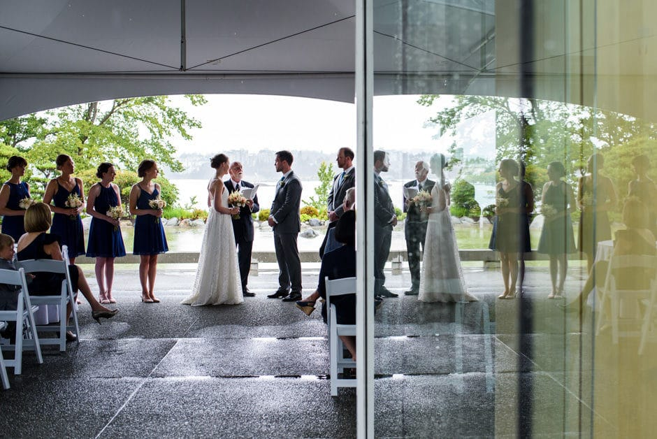 reflection of wedding ceremony at inn at laurel point